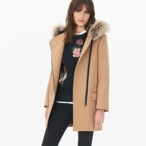 Sandro Camel Raccoon Fur Coat